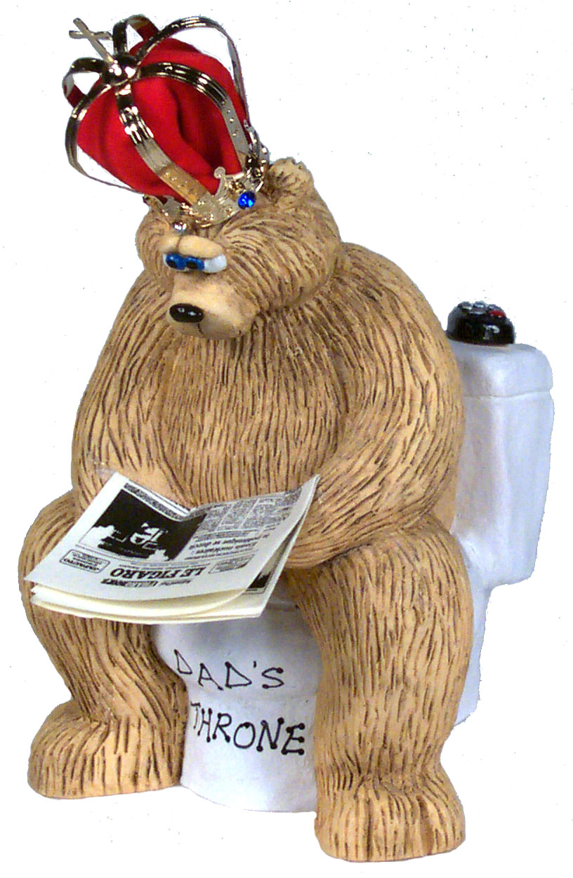 "Buy cute gifts for him - ""Dad\'s Throne Bear on Toilet, Cute Gifts for Him\"""