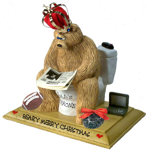 "Buy cute gifts for him - ""Merry Christmas Bear on Toilet, Cute Gifts for Him\"""